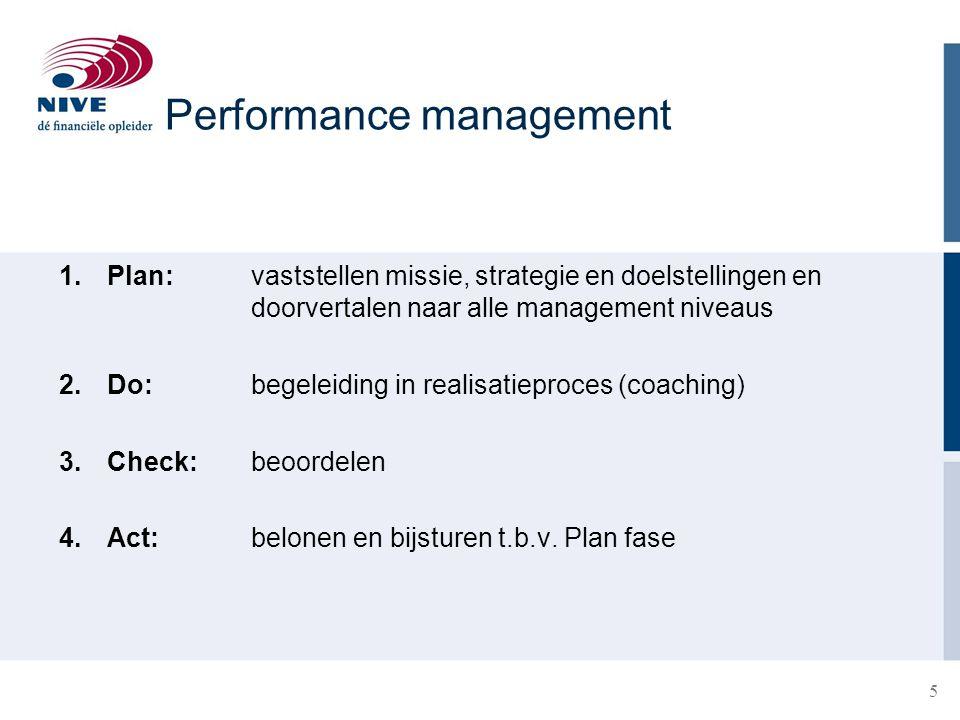 16 Tegenstrijdige belangen:  Lage kosten versus hoge kwaliteit  Ontwikkeling medewerkers versus uren maken en output  Continuïteit en voortdurende verbetering versus korte termijn resultaten Performance management