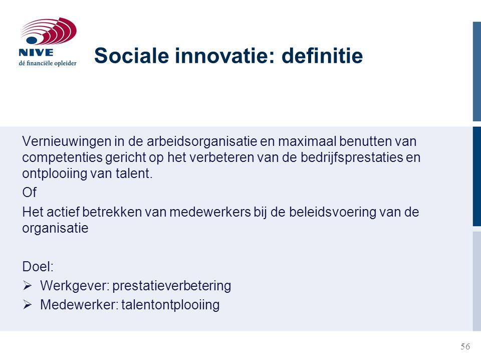 56 Vernieuwingen in de arbeidsorganisatie en maximaal benutten van competenties gericht op het verbeteren van de bedrijfsprestaties en ontplooiing van