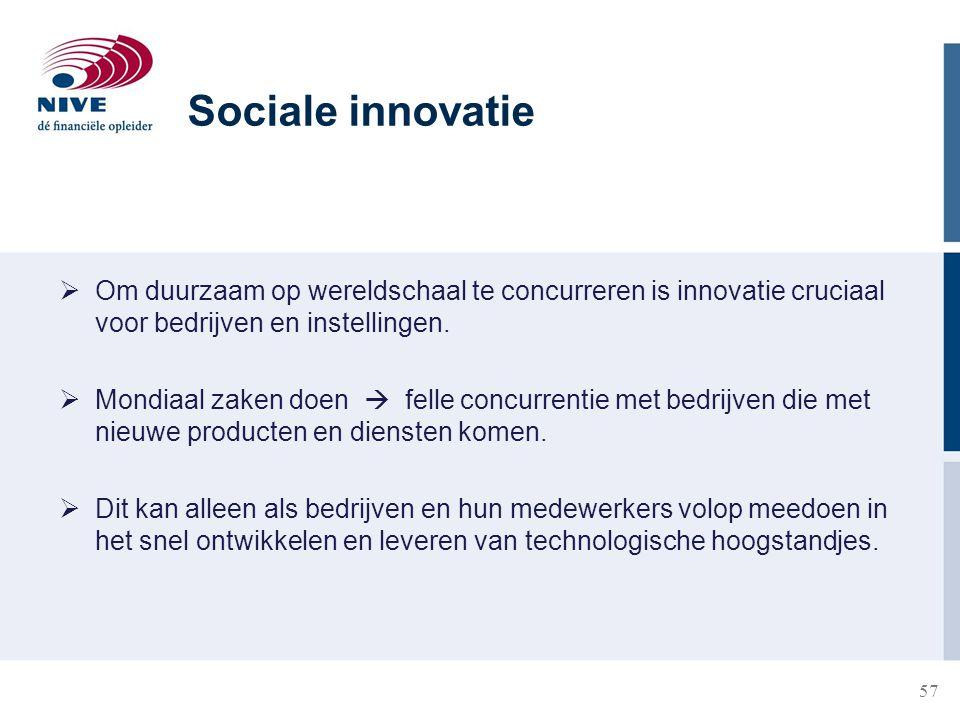 57  Om duurzaam op wereldschaal te concurreren is innovatie cruciaal voor bedrijven en instellingen.  Mondiaal zaken doen  felle concurrentie met b