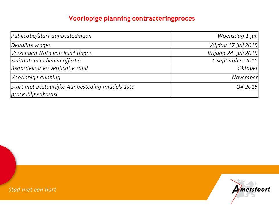 Voorlopige planning contracteringproces Publicatie/start aanbestedingenWoensdag 1 juli Deadline vragenVrijdag 17 juli 2015 Verzenden Nota van Inlichti