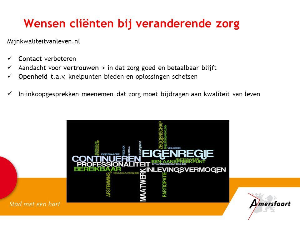 Wensen cliënten bij veranderende zorg Mijnkwaliteitvanleven.nl Contact verbeteren Aandacht voor vertrouwen > in dat zorg goed en betaalbaar blijft Ope