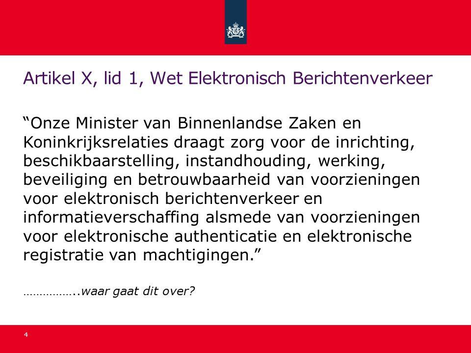 Artikel X, lid 1, Wet Elektronisch Berichtenverkeer Onze Minister van Binnenlandse Zaken en Koninkrijksrelaties draagt zorg voor de inrichting, beschikbaarstelling, instandhouding, werking, beveiliging en betrouwbaarheid van voorzieningen voor elektronisch berichtenverkeer en informatieverschaffing alsmede van voorzieningen voor elektronische authenticatie en elektronische registratie van machtigingen. ……………..waar gaat dit over.