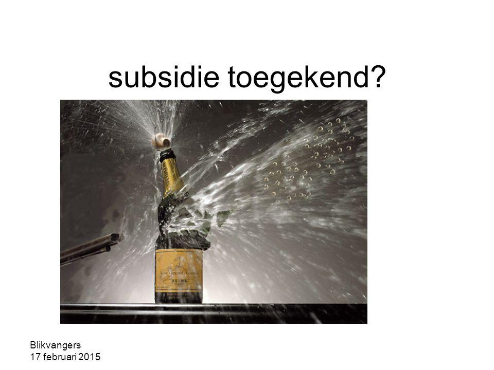 Blikvangers 17 februari 2015 subsidie toegekend