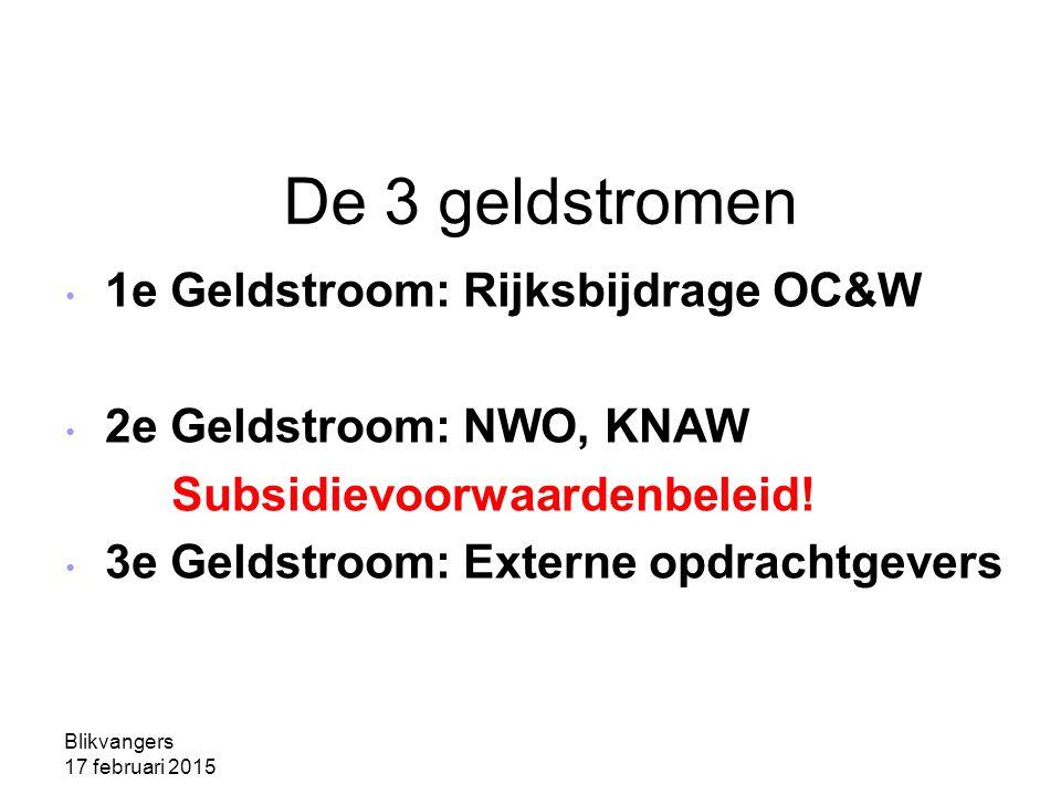 Blikvangers 17 februari 2015 De 3 geldstromen 1e Geldstroom: Rijksbijdrage OC&W 2e Geldstroom: NWO, KNAW Subsidievoorwaardenbeleid.