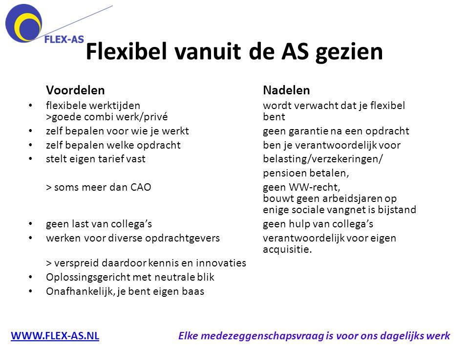 Flexibel vanuit de AS gezien VoordelenNadelen flexibele werktijdenwordt verwacht dat je flexibel >goede combi werk/privébent zelf bepalen voor wie je
