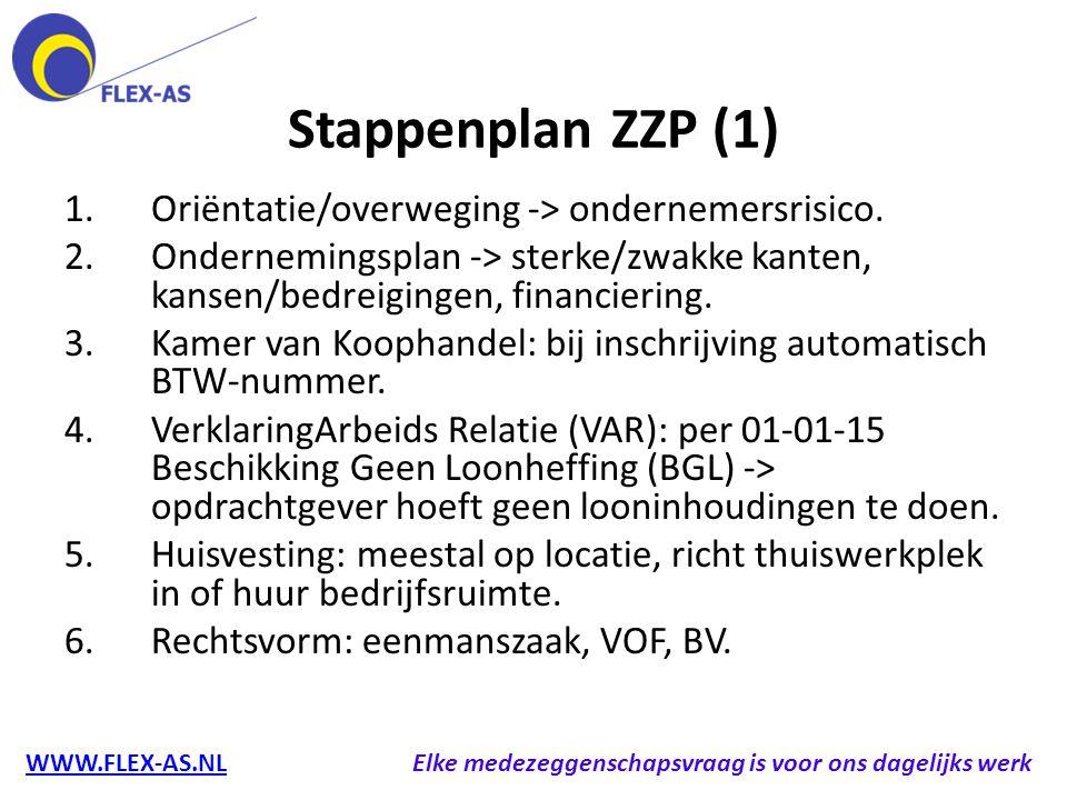 Stappenplan ZZP (1) 1.Oriëntatie/overweging -> ondernemersrisico. 2.Ondernemingsplan -> sterke/zwakke kanten, kansen/bedreigingen, financiering. 3.Kam