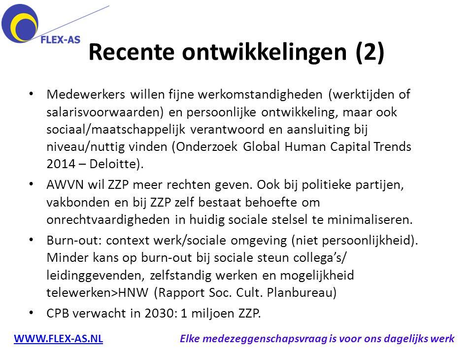 Recente ontwikkelingen (2) Medewerkers willen fijne werkomstandigheden (werktijden of salarisvoorwaarden) en persoonlijke ontwikkeling, maar ook socia