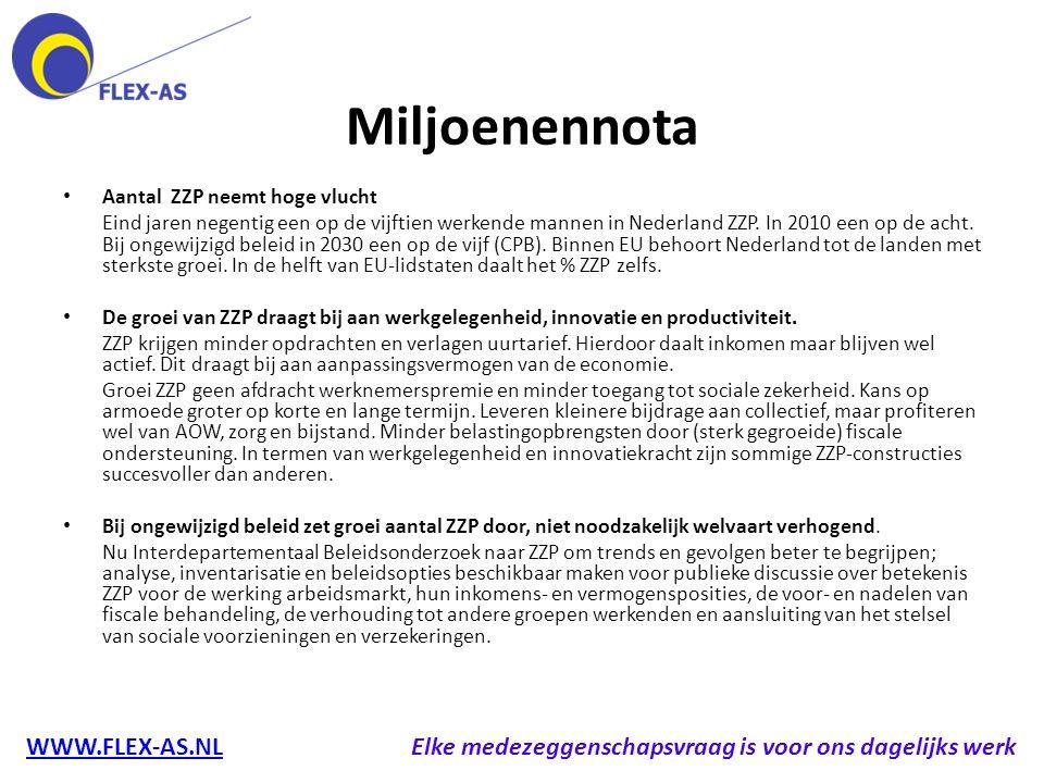 Miljoenennota Aantal ZZP neemt hoge vlucht Eind jaren negentig een op de vijftien werkende mannen in Nederland ZZP. In 2010 een op de acht. Bij ongewi