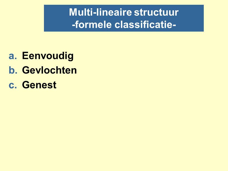 a) Simpel multi-lineair nOok multi-lineaire structurering niet beperkt tot digitale media: ook gebruikt in hard copy fictie en in analoge media zoals film en muziek.
