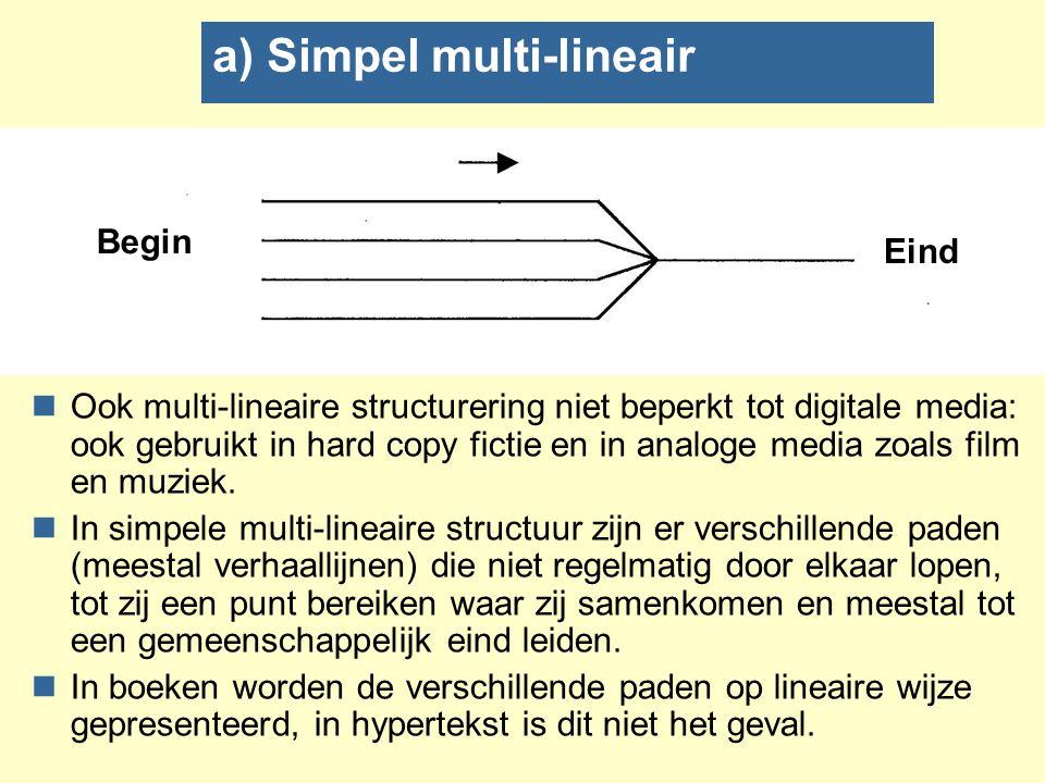 b) Gevlochten multi-lineair nVertakkingen van thematisch gerelateerde verhaal- lijnen die vervolgens convergeren om zich daarna weer in een aantal richtingen vertakken waaruit gekozen kan worden.
