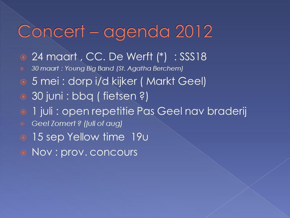  24 maart, CC. De Werft (*) : SSS18  30 maart : Young Big Band (St. Agatha Berchem)  5 mei : dorp i/d kijker ( Markt Geel)  30 juni : bbq ( fietse