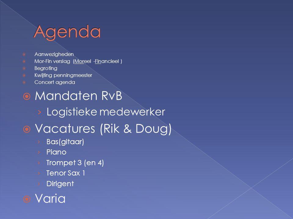  Aanwezigheden  Mor-Fin verslag (Moreel -Financieel )  Begroting  Kwijting penningmeester  Concert agenda  Mandaten RvB › Logistieke medewerker