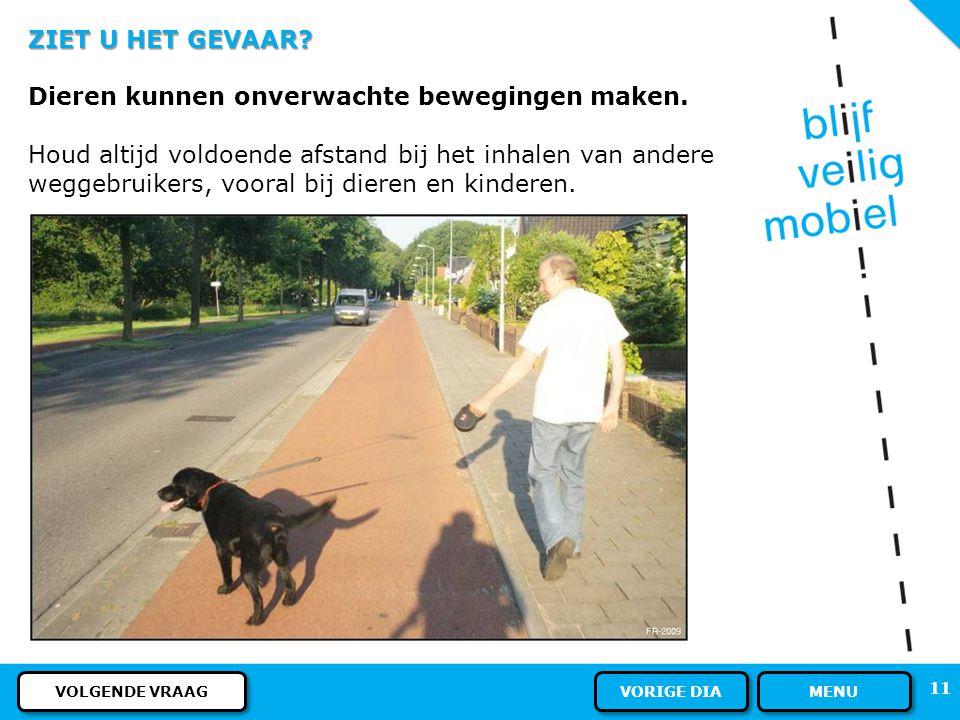 10 ZIET U HET GEVAAR? U fietst op het fietspad. Op het trottoir loopt een voetganger met een hond. Waar moet u voor oppassen? MENU ANTWOORD