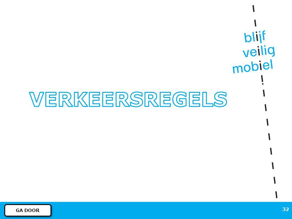 31 REGELS EN BORDEN – Verkeersborden Nee, dat is niet verplicht. Het blauwe bord geeft de adviessnelheid aan. MEER INFORMATIE MENU VORIGE DIA Dit is g