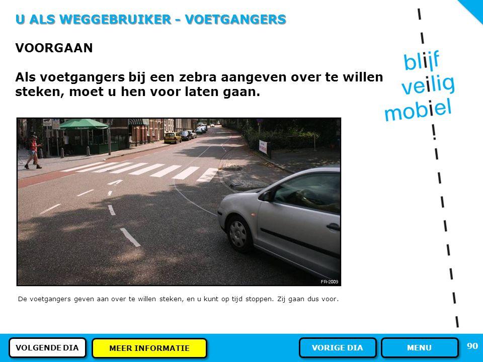 U ALS WEGGEBRUIKER - VOETGANGERS PLAATS OP DE WEG Als er geen voetpad of trottoir is, mogen voetgangers gebruik maken van het fietspad. Voetgangers mo