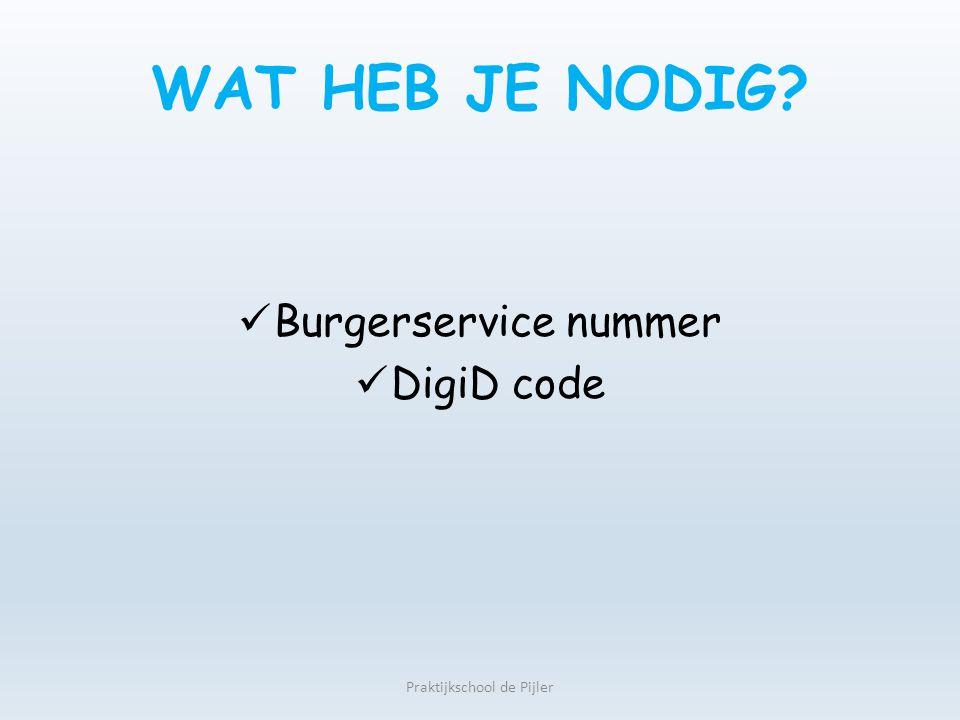WAT HEB JE NODIG? Burgerservice nummer DigiD code Praktijkschool de Pijler