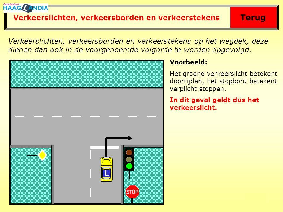 59 Terug Algemeen stopteken Stopteken voor het verkeer, dat de verkeersregelaar van achteren nadert.