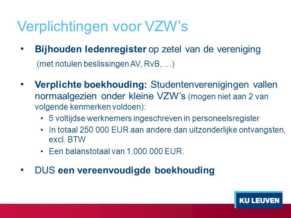 Verplichtingen voor VZW's Bijhouden ledenregister op zetel van de vereniging (met notulen beslissingen AV, RvB, …) Verplichte boekhouding: Studentenve