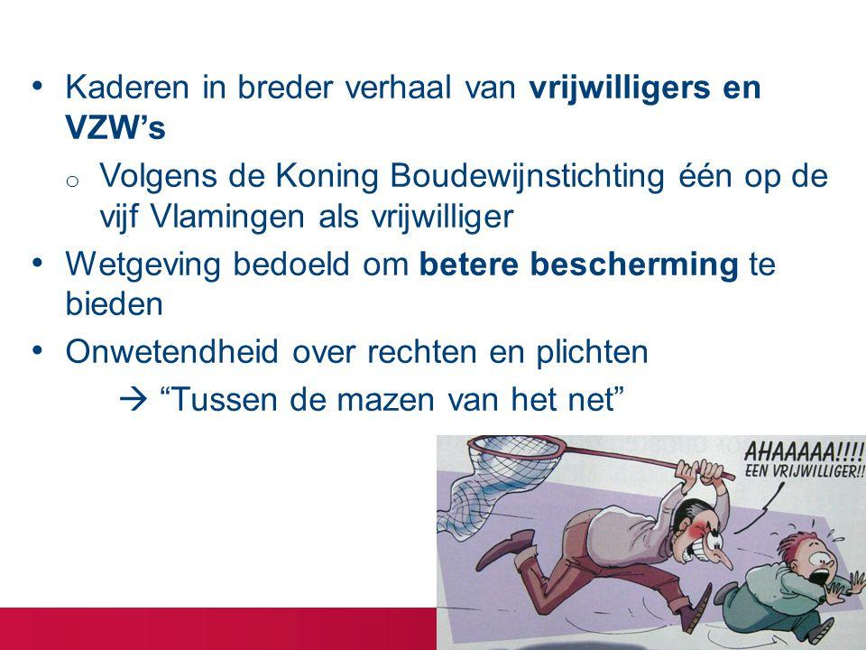 Kaderen in breder verhaal van vrijwilligers en VZW's o Volgens de Koning Boudewijnstichting één op de vijf Vlamingen als vrijwilliger Wetgeving bedoeld om betere bescherming te bieden Onwetendheid over rechten en plichten  Tussen de mazen van het net