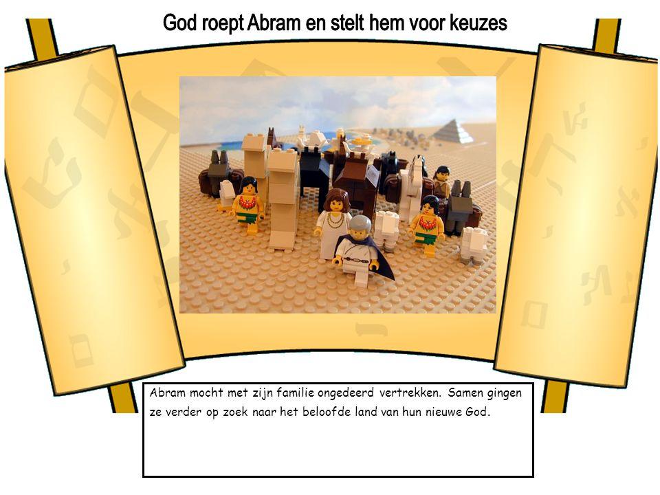 Abram mocht met zijn familie ongedeerd vertrekken. Samen gingen ze verder op zoek naar het beloofde land van hun nieuwe God.