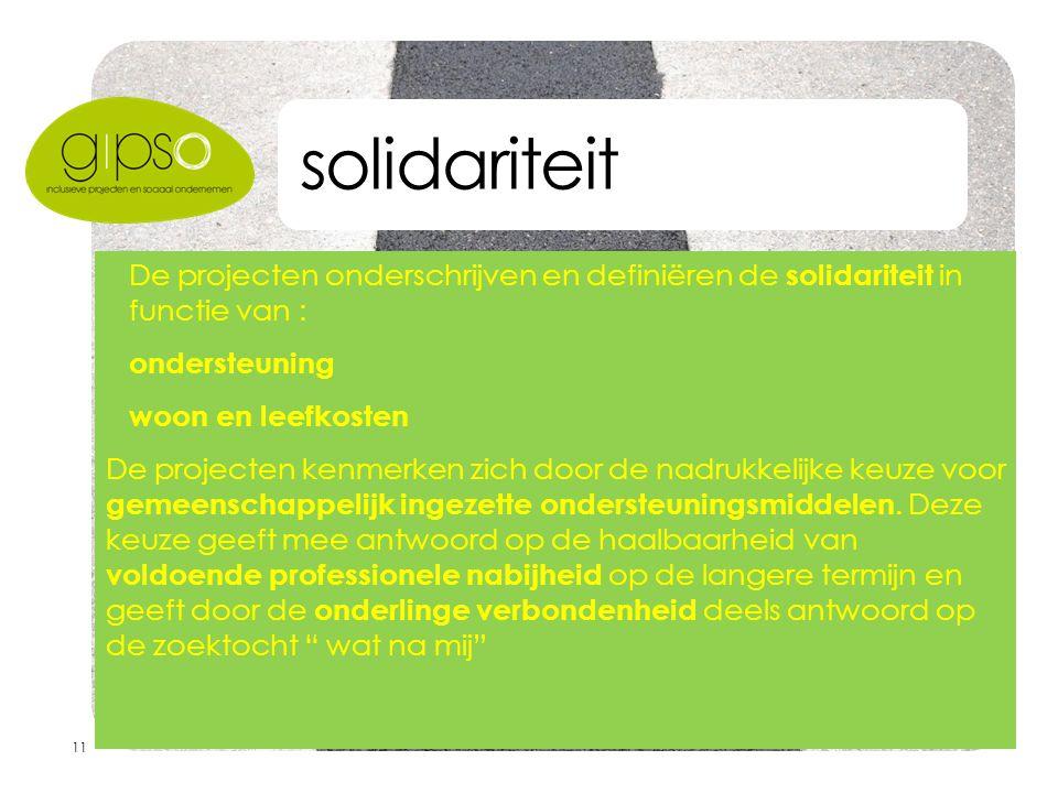 11 solidariteit  De projecten onderschrijven en definiëren de solidariteit in functie van :  ondersteuning  woon en leefkosten De projecten kenmerken zich door de nadrukkelijke keuze voor gemeenschappelijk ingezette ondersteuningsmiddelen.