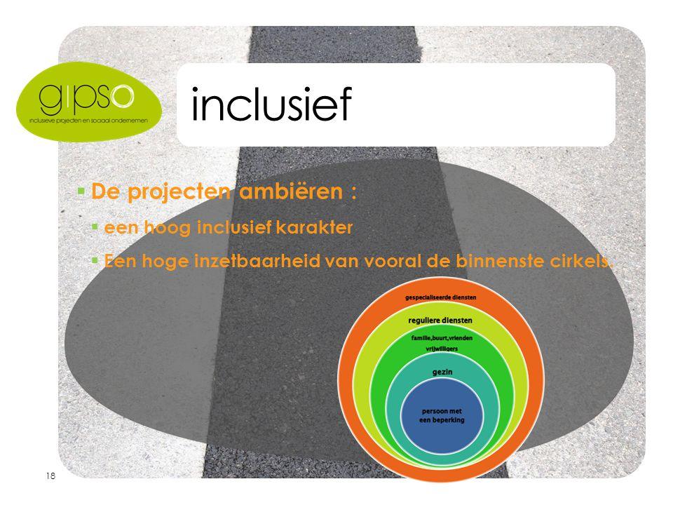 18 inclusief  De projecten ambiëren :  een hoog inclusief karakter  Een hoge inzetbaarheid van vooral de binnenste cirkels.