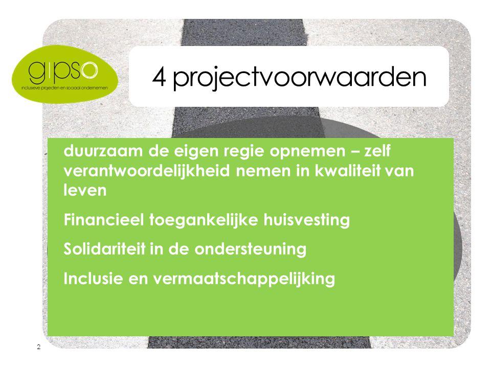 2 4 projectvoorwaarden  duurzaam de eigen regie opnemen – zelf verantwoordelijkheid nemen in kwaliteit van leven  Financieel toegankelijke huisvesting  Solidariteit in de ondersteuning  Inclusie en vermaatschappelijking