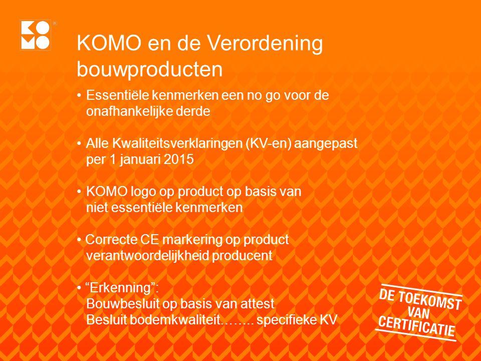 KOMO en de Verordening bouwproducten Essentiële kenmerken een no go voor de onafhankelijke derde Alle Kwaliteitsverklaringen (KV-en) aangepast per 1 j