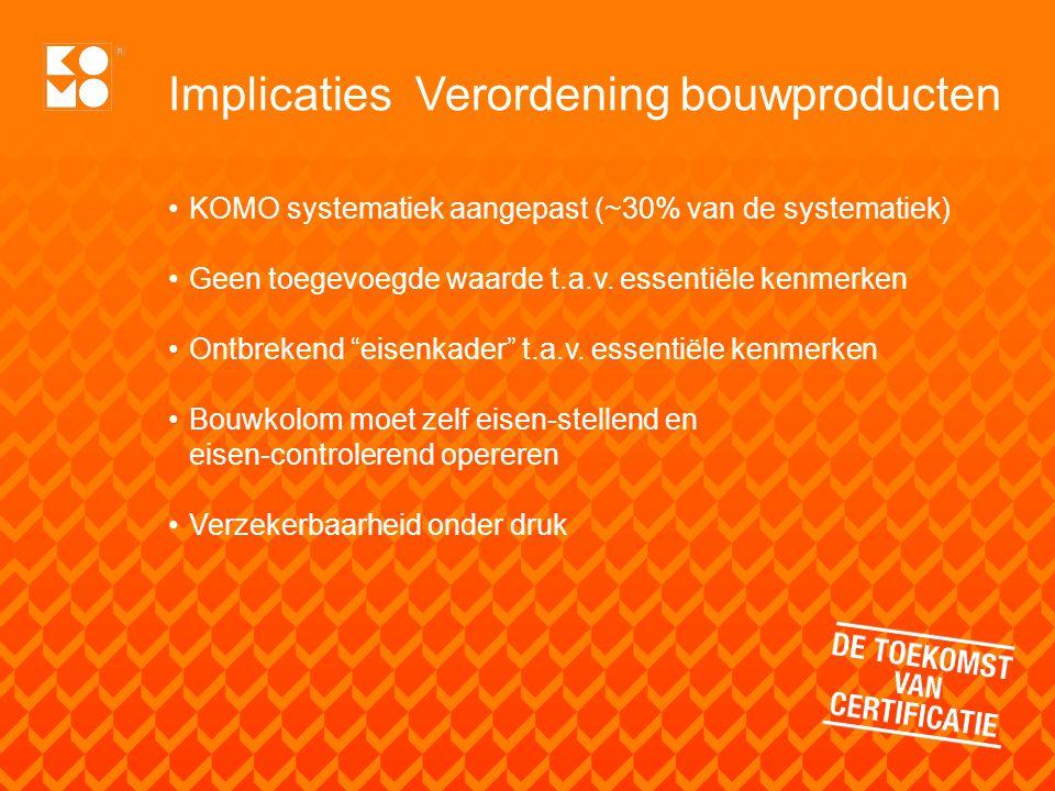 Implicaties Verordening bouwproducten KOMO systematiek aangepast (~30% van de systematiek) Geen toegevoegde waarde t.a.v. essentiële kenmerken Ontbrek