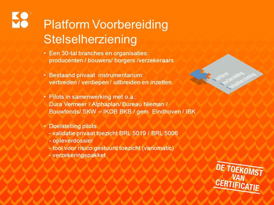 Platform Voorbereiding Stelselherziening Een 30-tal branches en organisaties: producenten / bouwers/ borgers /verzekeraars Bestaand privaat instrument
