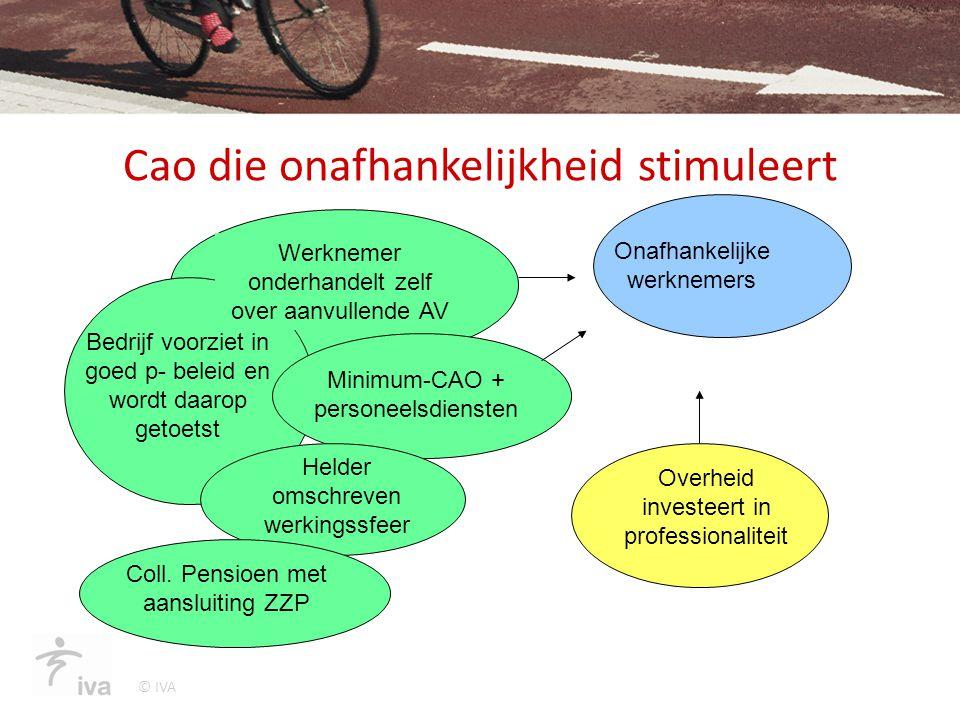 © IVA Cao die onafhankelijkheid stimuleert Bedrijf voorziet in goed p- beleid en wordt daarop getoetst Werknemer onderhandelt zelf over aanvullende AV