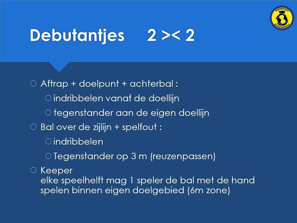 Debutantjes 2 >< 2  Aftrap + doelpunt + achterbal :  indribbelen vanaf de doellijn  tegenstander aan de eigen doellijn  Bal over de zijlijn + spelfout :  indribbelen  Tegenstander op 3 m (reuzenpassen)  Keeper elke speelhelft mag 1 speler de bal met de hand spelen binnen eigen doelgebied (6m zone)  Aftrap + doelpunt + achterbal :  indribbelen vanaf de doellijn  tegenstander aan de eigen doellijn  Bal over de zijlijn + spelfout :  indribbelen  Tegenstander op 3 m (reuzenpassen)  Keeper elke speelhelft mag 1 speler de bal met de hand spelen binnen eigen doelgebied (6m zone)