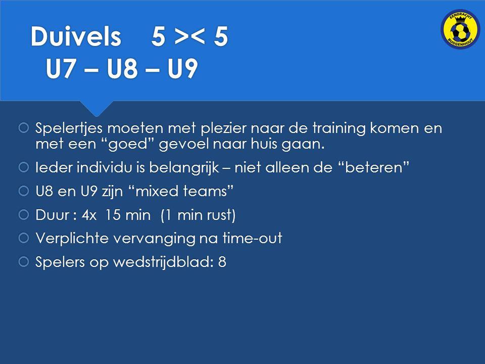 Duivels 5 >< 5 U7 – U8 – U9  Spelertjes moeten met plezier naar de training komen en met een goed gevoel naar huis gaan.