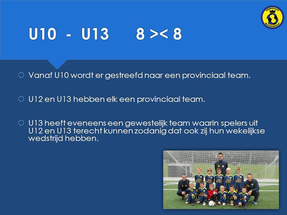 U10 - U13 8 >< 8  Vanaf U10 wordt er gestreefd naar een provinciaal team.