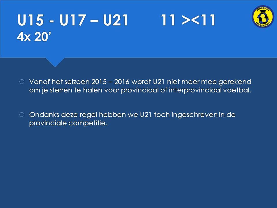 U15 - U17 – U21 11 ><11 4x 20'  Vanaf het seizoen 2015 – 2016 wordt U21 niet meer mee gerekend om je sterren te halen voor provinciaal of interprovinciaal voetbal.