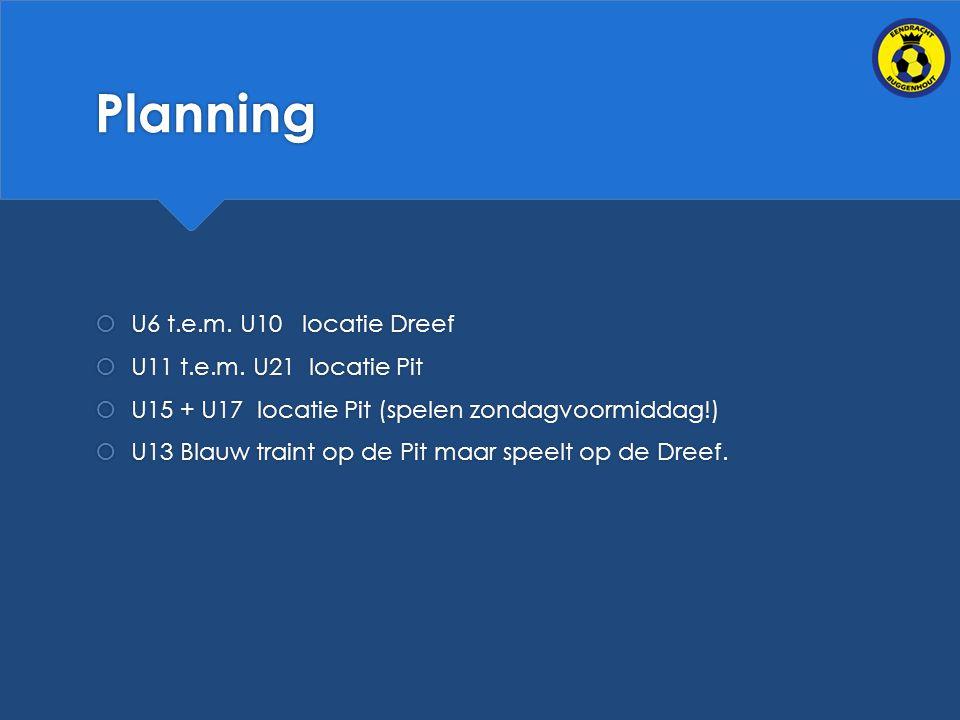 Planning  U6 t.e.m.U10 locatie Dreef  U11 t.e.m.