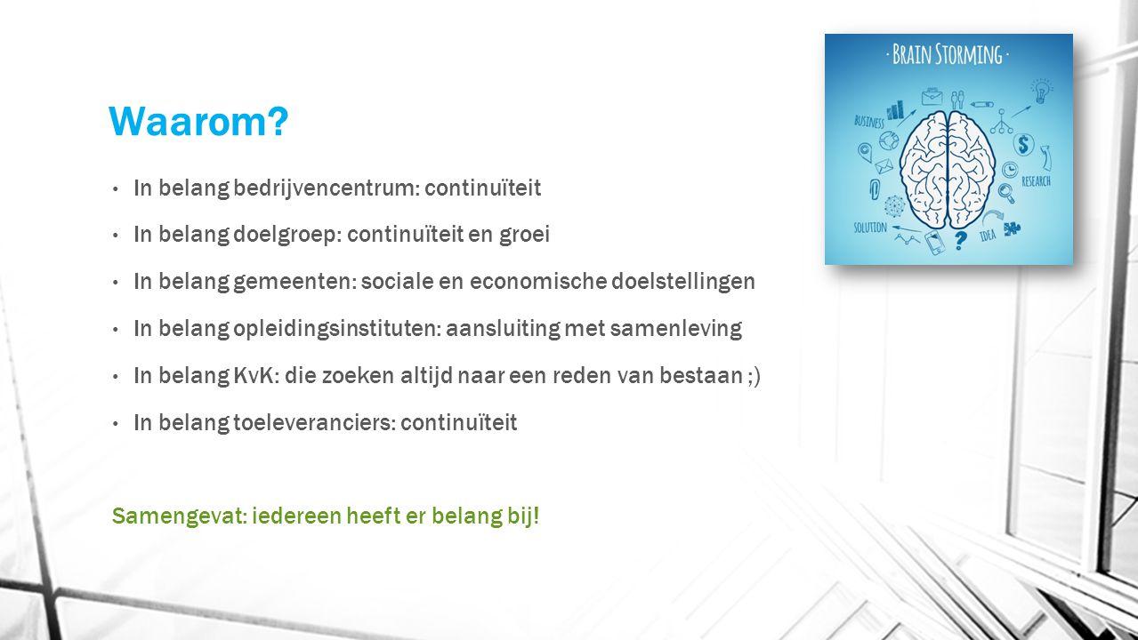 Waarom? In belang bedrijvencentrum: continuïteit In belang doelgroep: continuïteit en groei In belang gemeenten: sociale en economische doelstellingen