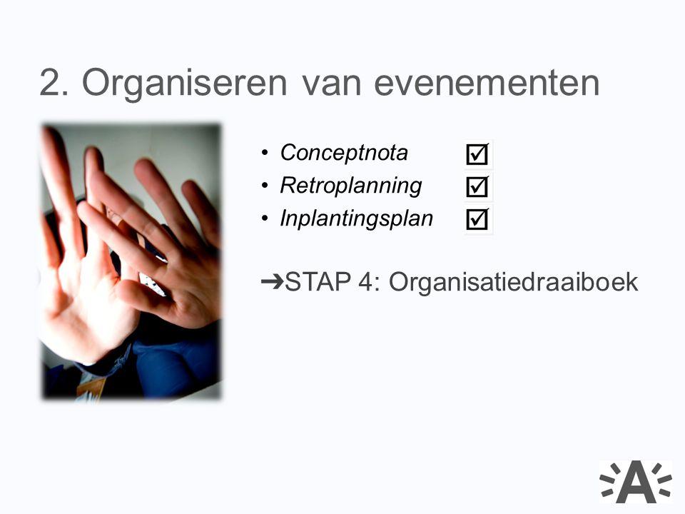 Conceptnota Retroplanning Inplantingsplan ➔ STAP 4: Organisatiedraaiboek 2. Organiseren van evenementen