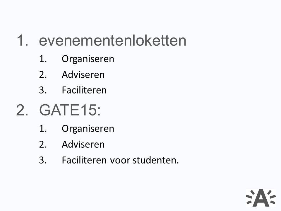 1.evenementenloketten 1.Organiseren 2.Adviseren 3.Faciliteren 2.GATE15: 1.Organiseren 2.Adviseren 3.Faciliteren voor studenten.