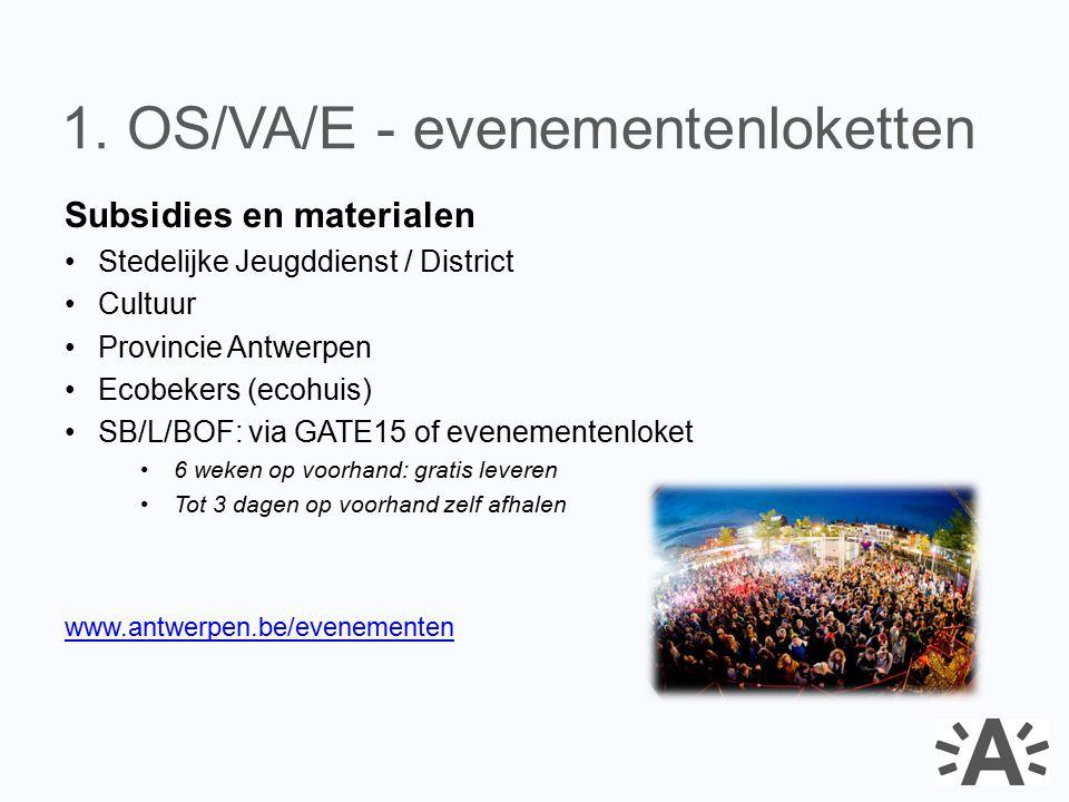 Subsidies en materialen Stedelijke Jeugddienst / District Cultuur Provincie Antwerpen Ecobekers (ecohuis) SB/L/BOF: via GATE15 of evenementenloket 6 w