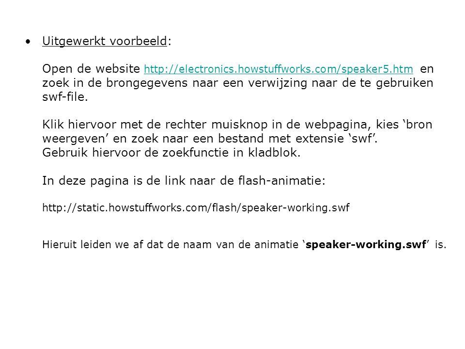 Uitgewerkt voorbeeld: Open de website http://electronics.howstuffworks.com/speaker5.htm en zoek in de brongegevens naar een verwijzing naar de te gebr