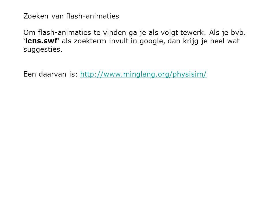 Zoeken van flash-animaties Om flash-animaties te vinden ga je als volgt tewerk. Als je bvb. 'lens.swf' als zoekterm invult in google, dan krijg je hee