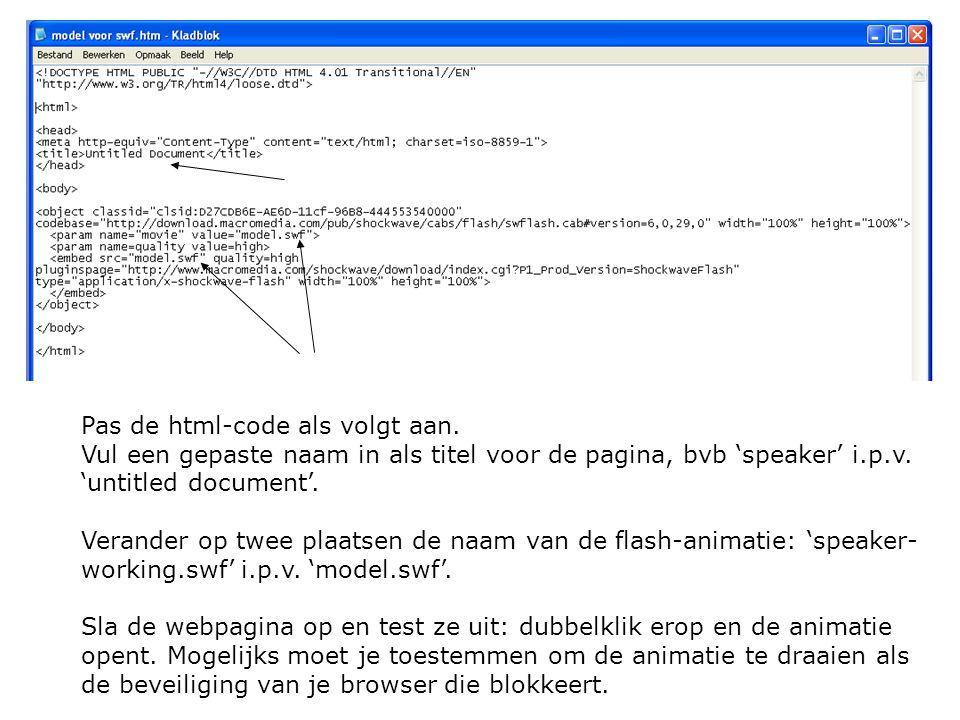 Pas de html-code als volgt aan. Vul een gepaste naam in als titel voor de pagina, bvb 'speaker' i.p.v. 'untitled document'. Verander op twee plaatsen