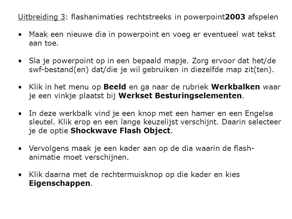 Uitbreiding 3: flashanimaties rechtstreeks in powerpoint2003 afspelen Maak een nieuwe dia in powerpoint en voeg er eventueel wat tekst aan toe. Sla je