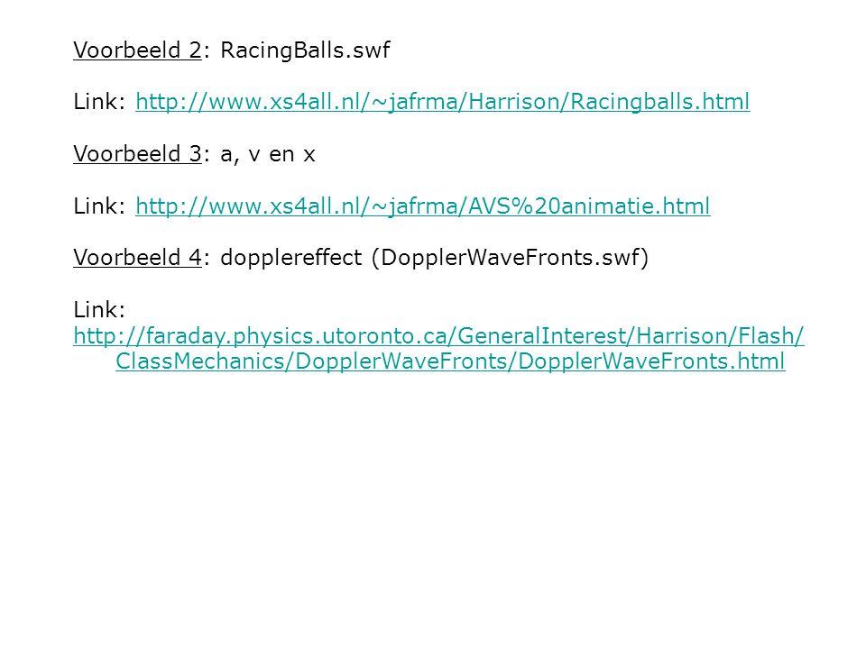 Voorbeeld 2: RacingBalls.swf Link: http://www.xs4all.nl/~jafrma/Harrison/Racingballs.htmlhttp://www.xs4all.nl/~jafrma/Harrison/Racingballs.html Voorbe
