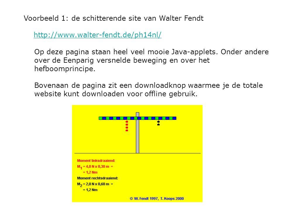 Voorbeeld 1: de schitterende site van Walter Fendt http://www.walter-fendt.de/ph14nl/ Op deze pagina staan heel veel mooie Java-applets. Onder andere