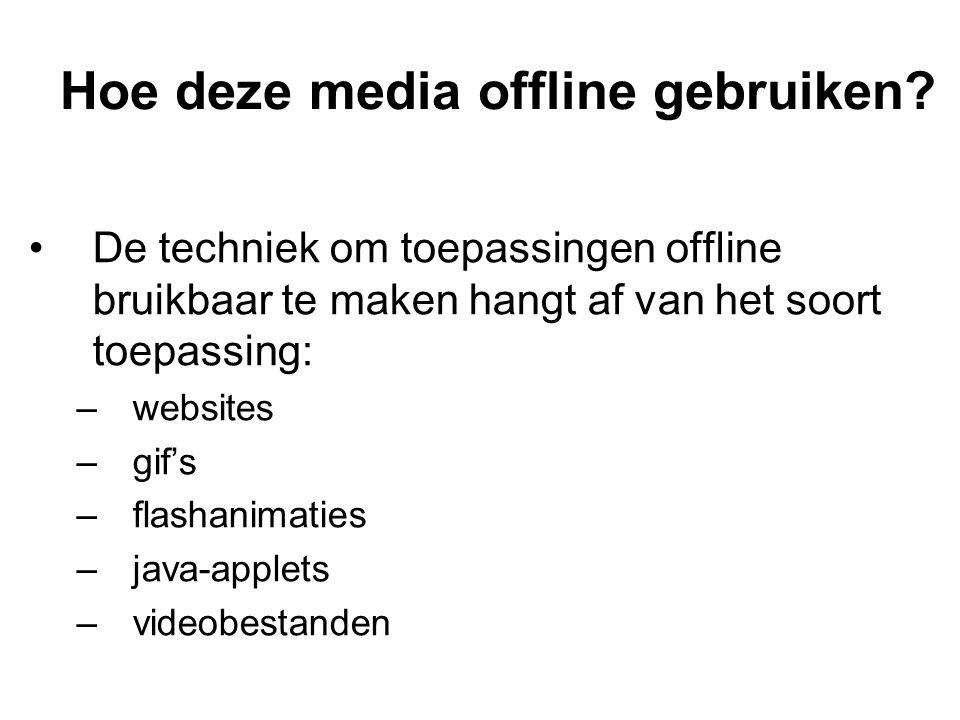Hoe deze media offline gebruiken? De techniek om toepassingen offline bruikbaar te maken hangt af van het soort toepassing: –websites –gif's –flashani