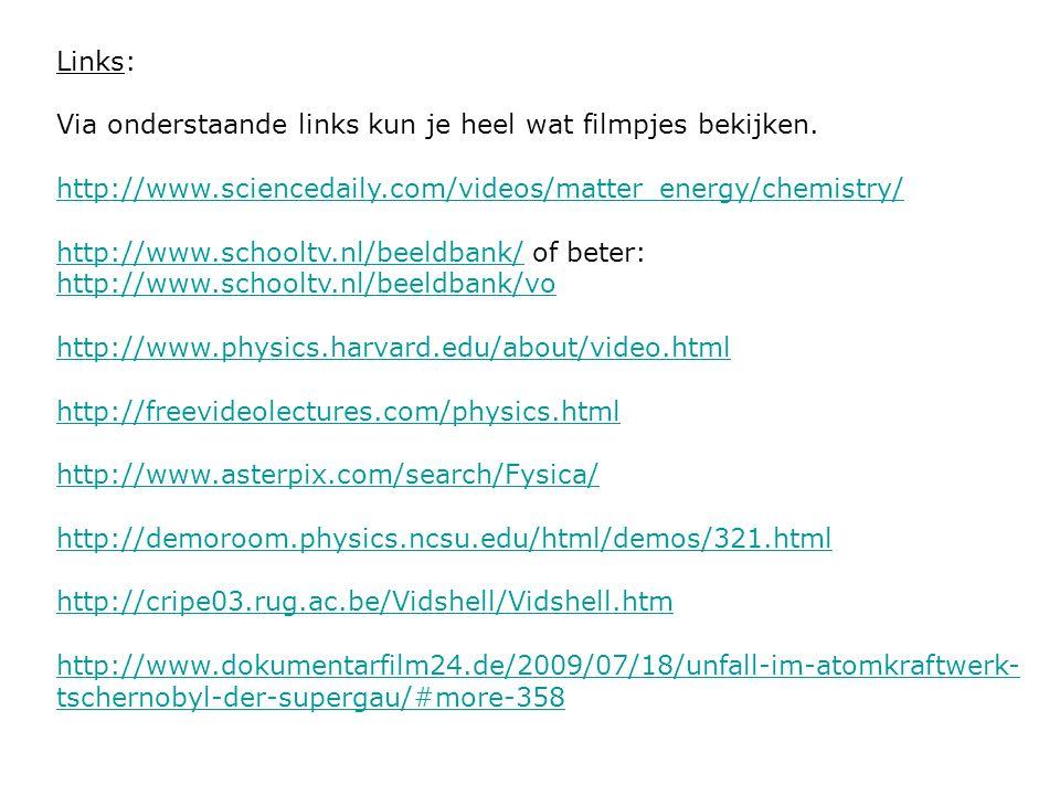 Links: Via onderstaande links kun je heel wat filmpjes bekijken. http://www.sciencedaily.com/videos/matter_energy/chemistry/ http://www.schooltv.nl/be