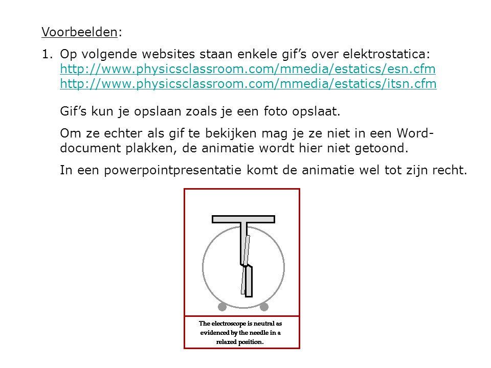 Voorbeelden: 1.Op volgende websites staan enkele gif's over elektrostatica: http://www.physicsclassroom.com/mmedia/estatics/esn.cfm http://www.physics