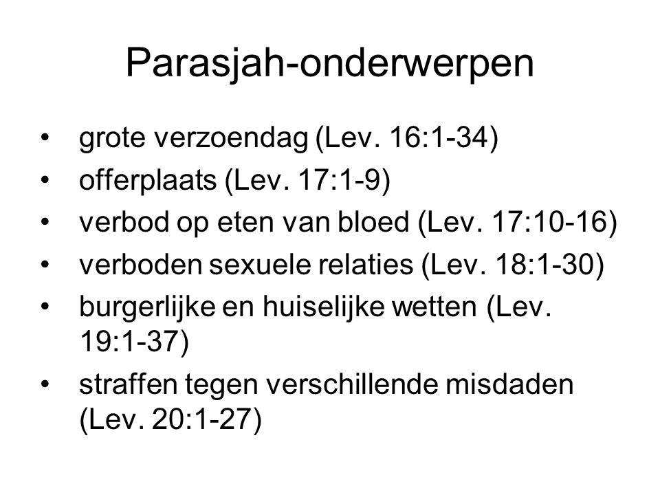 Parasjah-onderwerpen grote verzoendag (Lev. 16:1-34) offerplaats (Lev. 17:1-9) verbod op eten van bloed (Lev. 17:10-16) verboden sexuele relaties (Lev